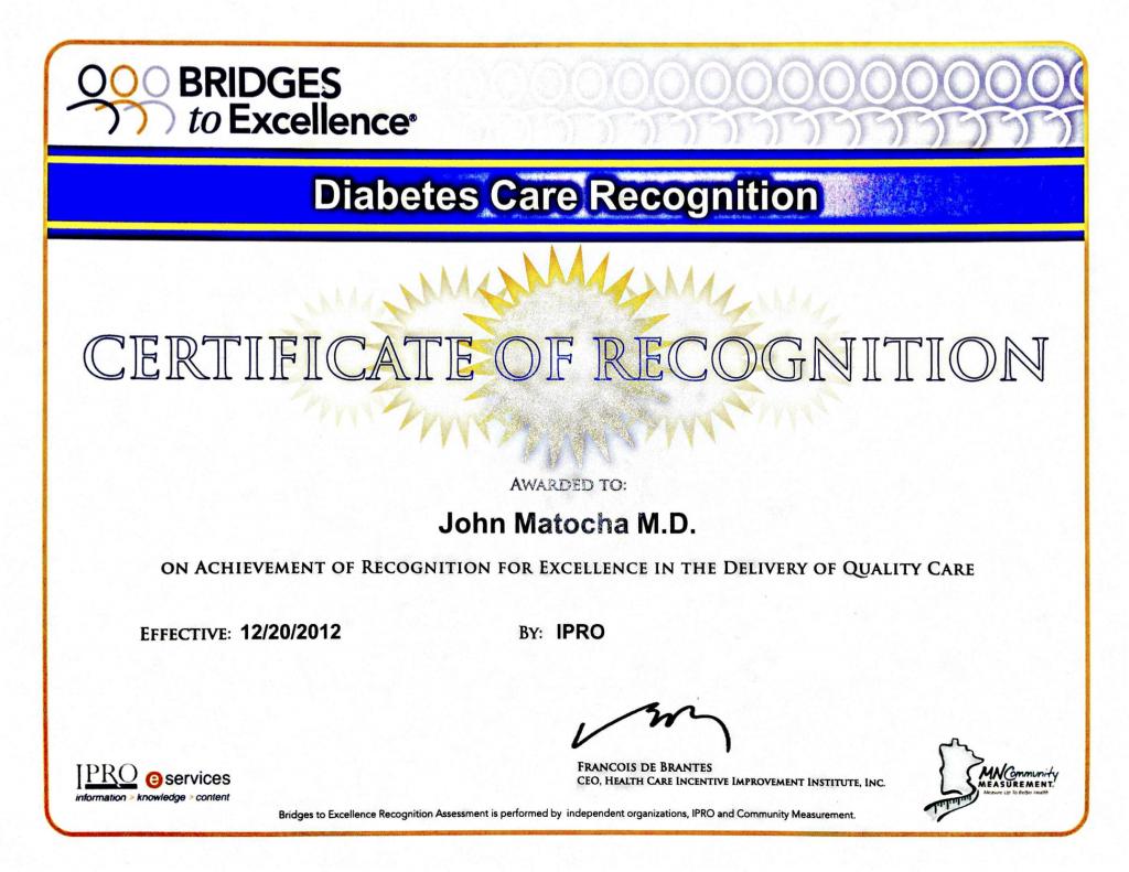 Diabetes Certificate