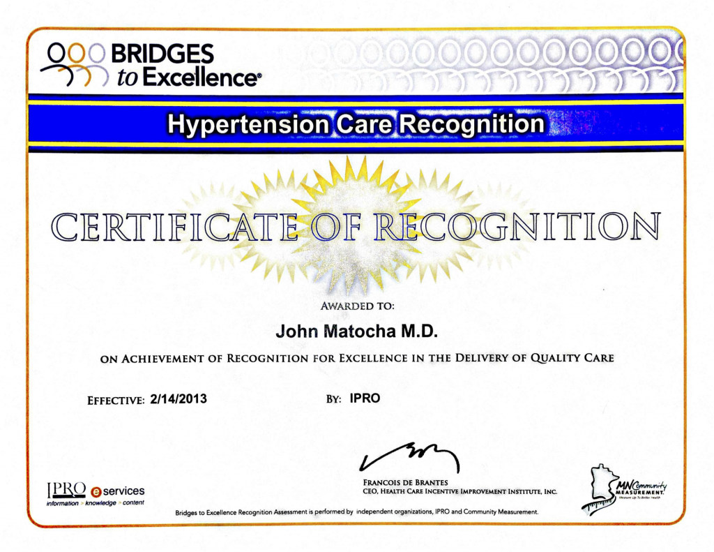 Hypertension Certificate